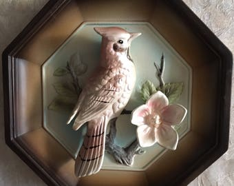 Tilso ceramic from Japan. WAll Art. Bird Perched on Tree With Flower.