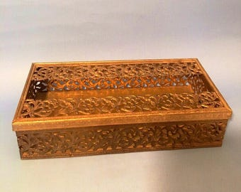 Mid century Brass Tissue box holder. Brass Filigree, Kleenex box holder. Hollywood Regency. Paris decor.