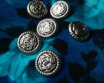 6 vintage silver coat buttons c1960s-80s