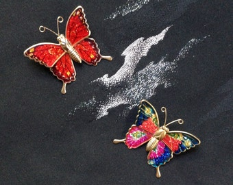 2 Vintage butterfly brooches - c1970s-80s