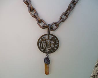 """Antiqued Brass and Quartz Crystal Necklace with Chinese Symbol for 'Luck"""", Boho Chic, Hippie Necklace, Urban Chic"""
