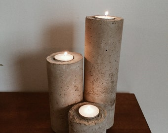 Concrete Candle Holder, Cement Candle Holder, Concrete Pillar Candle, Pillar Candle, Tea Light Candle Holder, Concrete Votive