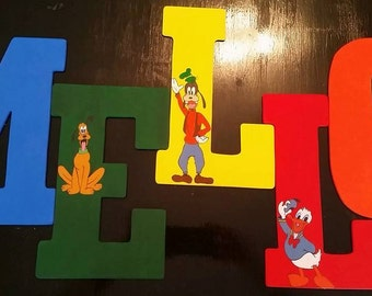Custom freehand painted wooden letters