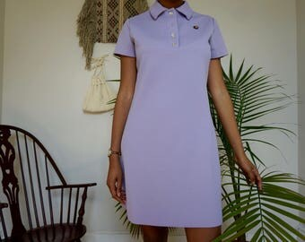 Purple Mod Shift Dress | Vintage Mini Dress with Collar | Short Sleeve Button Up Dress
