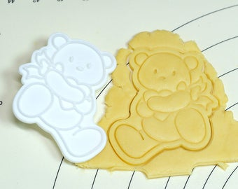 Bear Holding Heart Cookie Cutter and Stamp