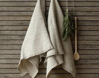 Set Of 2 Rustic Linen Tea Towels, Flax Dish Towel, Undyed Linen Towel,Natural Handmade Linen Towels,Rustic Linen Hand Towels, Rustic Towel
