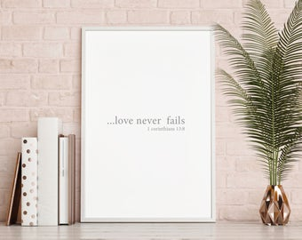Love never fails print wall art