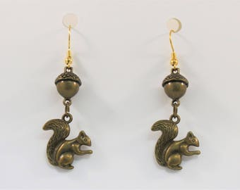 Squirrel and Acorn Dangle Earrings, Brass or Silver