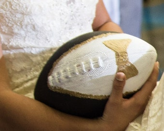 Tuxedo football for garter toss, Wedding Football