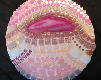 Circle Mosaic Wall Art - Agate Stone, Iridescent Glass Tile, Goldstone, Pink Mother of Pearl, Rose Quartz, Jasper, Flat Back Rhinestones