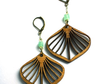 Lasercut Bamboo Ginko Leaf Earrings