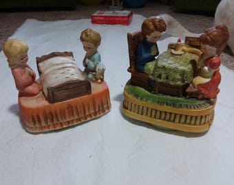 Set of two vintage Sankyo music boxes, music box,  one has Chadwick Japan on bottom.  Both are children praying. Both work.