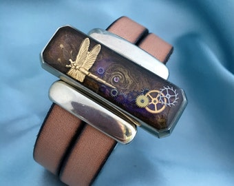 Leather Cord Cuff Bracelet - Urban chic leather bracelet - Dragonfly  Steampunk