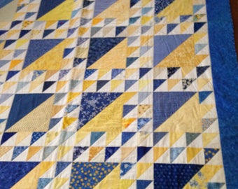 "Bright Blue and Yellow 72"" x 100"" Quilt"