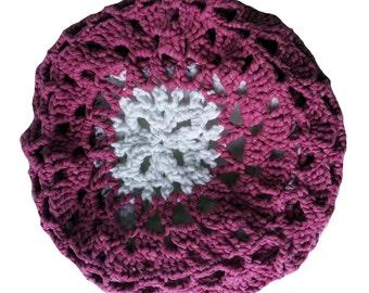 Lightweight Beanie, balloon Hat crochet, easy slouch, crochet beret hanging, hat, pink, white, lace pattern