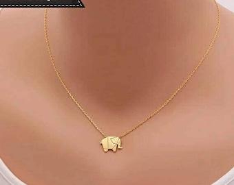 Gold Elephant Necklace, Origami Elephant Necklace, ELEPHANT