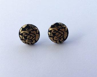 Gold Flowers Flower Button Earrings