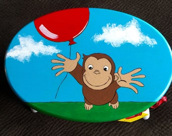 Curious George Monkey Time Out Chair / Step Stool for Kids Hand Painted & Monkey step stool | Etsy islam-shia.org