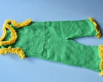Vintage 70's / baby / overalls / done knitting wool hand / green and yellow