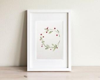 Illustration baies rouges, red berries illustration / fait main, handmade