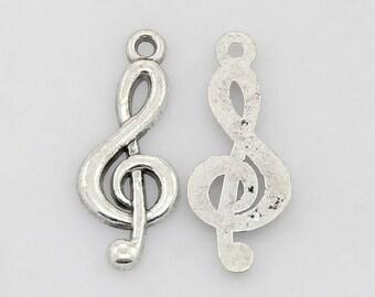 Silver Tibetan Treble Clef Pendants Qty: 20  (T-100)