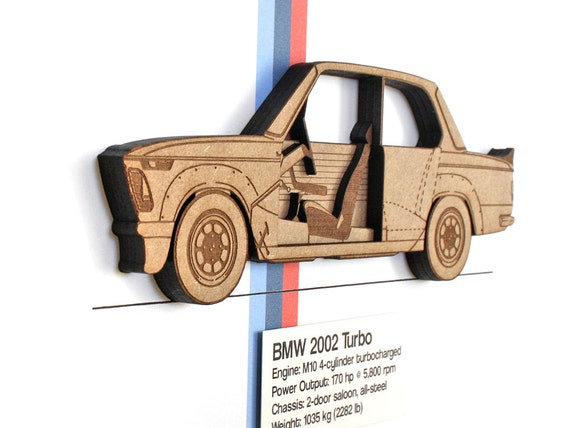 3D BMW 2002 Turbo Blueprint, BMW Decor, BMW 2002 Turbo, Automotive Art, Laser Cut Wall Art, Classic Car Decor, Automotive Decor, 8x10 or A4