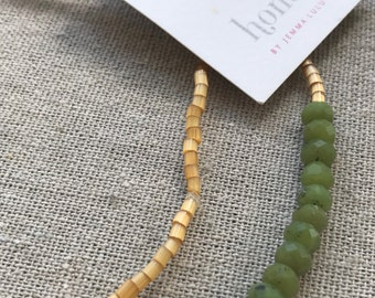 Vintage golden yellow seed beaded long, pretty jade necklace