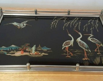 Vintage Art Deco Mirrored Tray with Birds