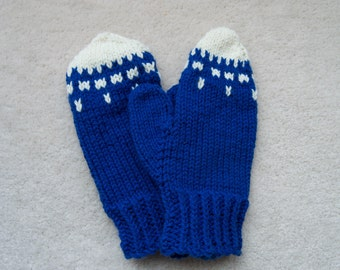 Blue and White Mittens