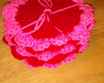 Set of 6 pink and red coasters