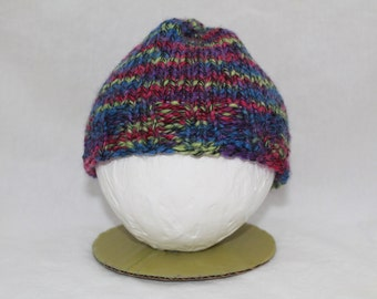 Hand Knitted Infant Hats - Purple/Green/Blue
