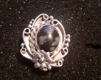 Sterling Silver Ring With Snowflake Obsidian Size 6 1/6