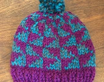 Chunky Fair Isle Geometric Knit Winter Hat