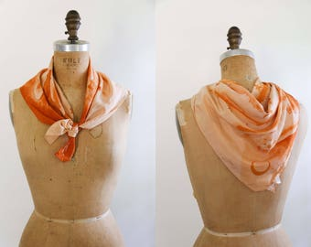 1940's  Peach and Orange Celestial Scarf