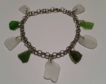 White and Green sea glass anklet