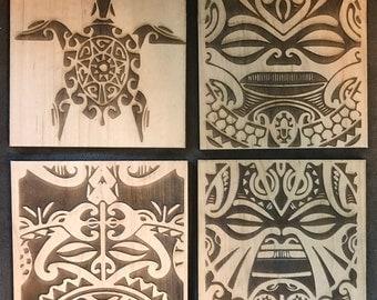 Set of 4 Wooden WDW Polynesian Resort Inspired Tiki Coasters