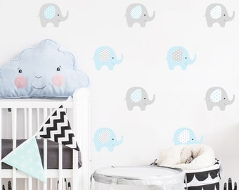 Elephants Wall Decal Nursery Kids, Baby boy decals,  Nursery Wall Decal , Wall stickers, Vinyl decals, kids decals,  Elephant decal