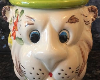 Vintage Weiss Hand Painted Lion Cookie Jar Made in Brazil