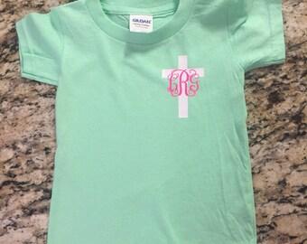 Girl's Cross Shirt with Monogram