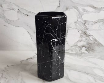 Black & White Hexagon Splatter Vase