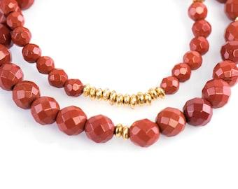 Red Jasper Bracelet, 4 mm Faceted Red Jasper Bracelet, Gemstone Bracelet, Stretch Bracelet, Yoga Bracelet, Stacking bracelet