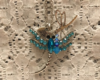 Electric Blue Crystal Dragonfly Charm Pendant Necklace