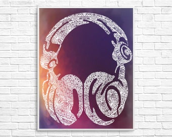 Listen Here, Headphone Mandala, Headphones Wall Print, Headphone Art Print, Music Mandala, Music Art Print