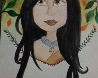 Deviantart pocahontas Watercolour illustration