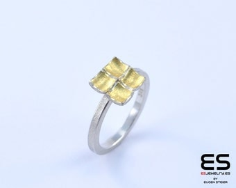 Ring silver 925  and 24k gold Mozaiku collection Keum Boo / Kum Boo ES Jewelry square shaped