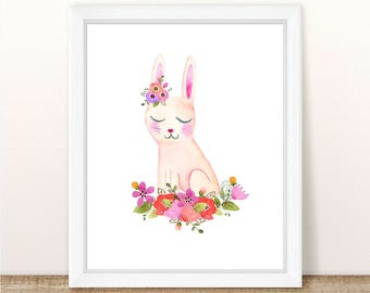 PRINTABLE Woodland Nursery Girl Art, Bunny Nursery Art, Watercolor Bunny Nursery Art Print, Floral Woodland Bunny Art, Easter Bunny Print