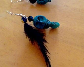 Sterling silver and turquoise skull and feather earrings