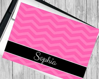 PERSONALIZED Pink Chevron Card 3.5 x 5