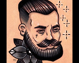 "Neo-traditional tattoo inspired Dapper Gentleman 4"" x 6"" postcard"