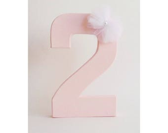 Pink Numbers, Free Standing Number, Party Decor, Second Birthday, Pink Birthday